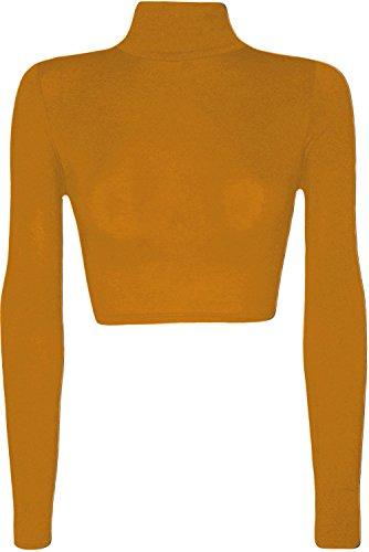 Top da donna corto elasticizzato a maniche lunghe, con collo alto, taglia: 36-42 Mustard