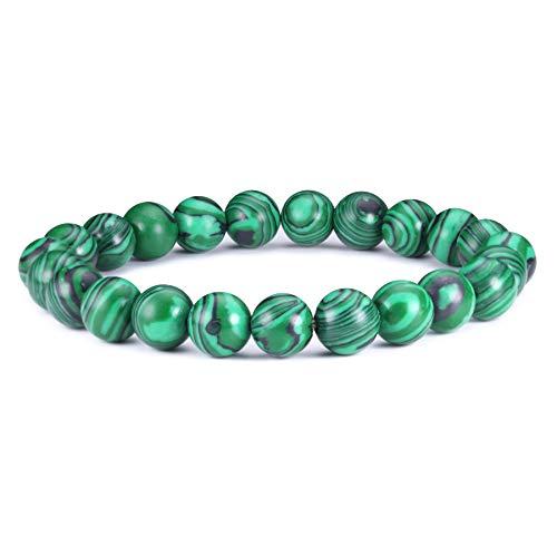 Bracciale perline j.fée bracciale elastico malachite 8mm bracciale rotonda semi preziosa perline bracciale verde bracciale naturali regalo di festa della mamma di compleanno per mamma ragazza donna