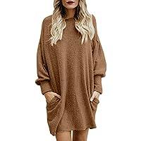 ¡Gran promoción!★Rovinci★ Sudadera para Mujer Moda Color sólido Cuello en O Bolsillo Suéter Largo Manga Larga Casual Loose Pullover Outwear