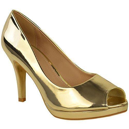 Damen Mid High Heels Stilettos Plateau Sandalen Peeptoe Schuhe Größe Neu - Gold Metallic, 38
