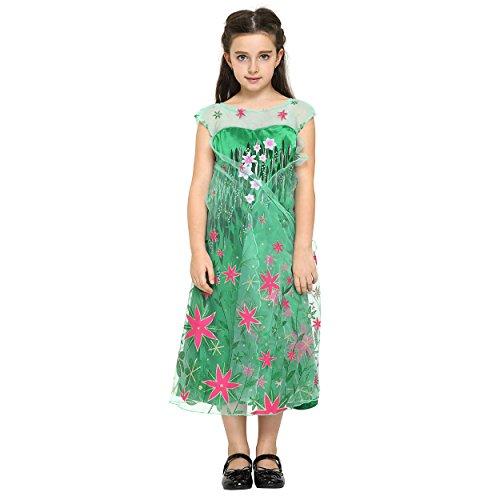Imagen de katara  disfraz de la princesa elsa  frozen fever  vestido verde estampado con flores rojas de la reina de las nieves, traje de fiesta para niñas  4 5 años alternativa