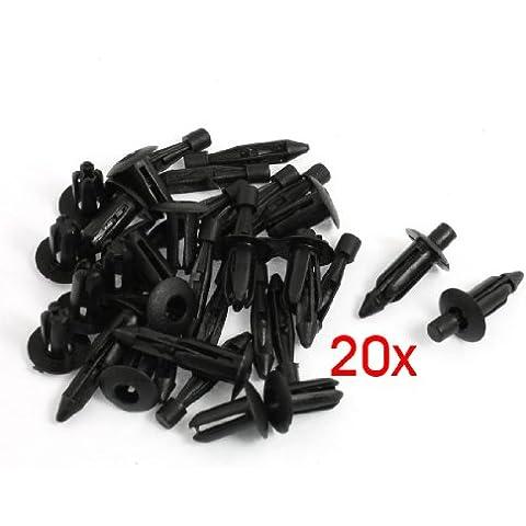 SODIAL(R) 20 x Remache de Plastico Piezas de Coches Negro 6mm Agujero