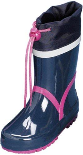 Playshoes 184307 Kinder Gummistiefel Basic aus Naturkautschuk marine/pink