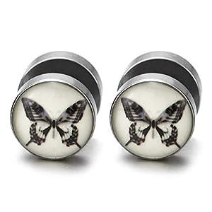 10MM Damen Kuppel Ohrstecker Ohrringe mit Schwarz Weiß Schmetterling, Fake Plugs Ohr Cheater Tunnel Gauges Edelstahl
