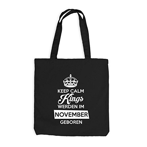 Jutebeutel - Keep Calm Kings werden im November geboren - Birthday Geburtstag Schwarz
