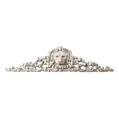 Design Toscano NG315550 Fronton mural sculpté Lion Blanc Cassé 6,5 x 96,5 x 24 cm
