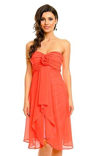 Sans bretelles pour femme abiballkleid de soirée en chiffon à froufrous orange fluo