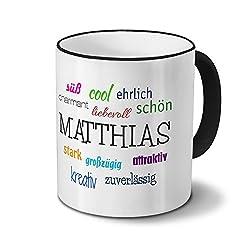 printplanet Tasse mit Namen Matthias - Positive Eigenschaften von Matthias - Namenstasse, Kaffeebecher, Mug, Becher, Kaffeetasse - Farbe Schwarz