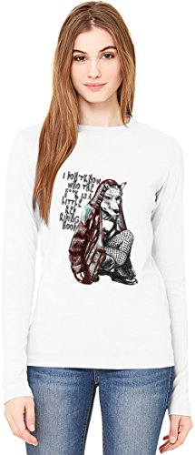 I Don't Know Who Is A Little Red Riding Hood Damen Langarm T-Shirt Long-Sleeve T-shirt For Women| 100% Premium Cotton| DTG Printing| (Rock Red Hood Riding)