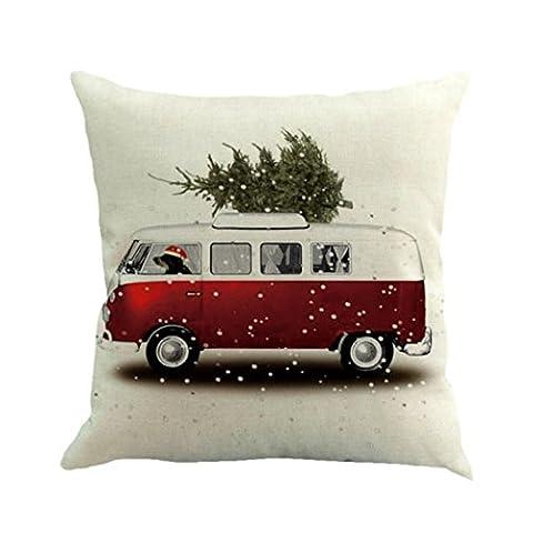 Christmas Taie d'oreiller ,Moonuy Arbre de Noël lin carré jeter coussin Housse coussin décoratif Sofa de taille de jet de couverture de coussin à la maison décor, 45 cm * 45 cm (E)