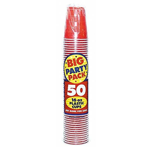 Plastik, 16 oz, Rot, 50-ct.