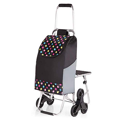 A~LICE&C Mode-Einkaufswagen Klettern Treppen mit Stöcken Trolley Cart Klapp-Portable Gepäckstücke Cart Trolley Car Small Cart Convenient Household Shopping