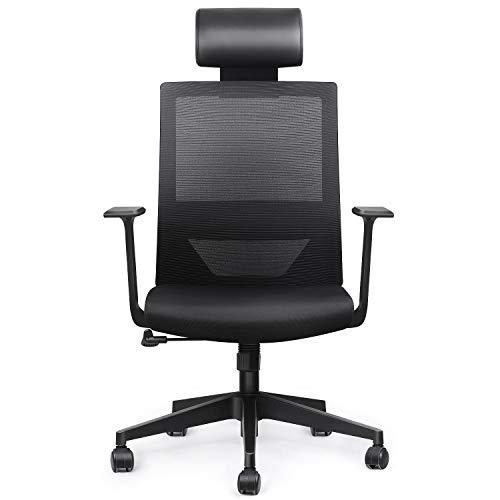 Amzdeal Bürostuhl ergonomischer Schreibtischstuhl mit einstellbarer PU Kopfstütze, Drehstuhl mit Taillestütze und Wippfunktion, Belastbar bis 136kg