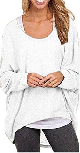 Femmes Sexy ras du cou à manches longues solide irrégulière lâche Casual Shirt Top Blouse Blanc