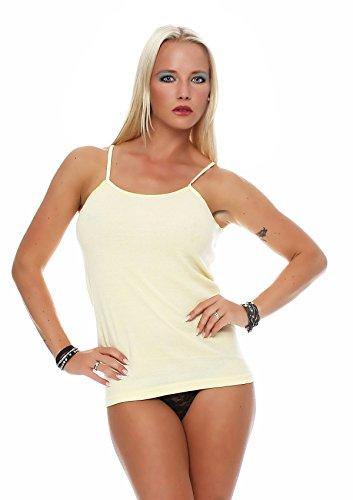 Damen Frauen Unterhemden farbig bunt Spaghettiträger Tank Top Baumwolle von SGS Spaghettiträger Gelb