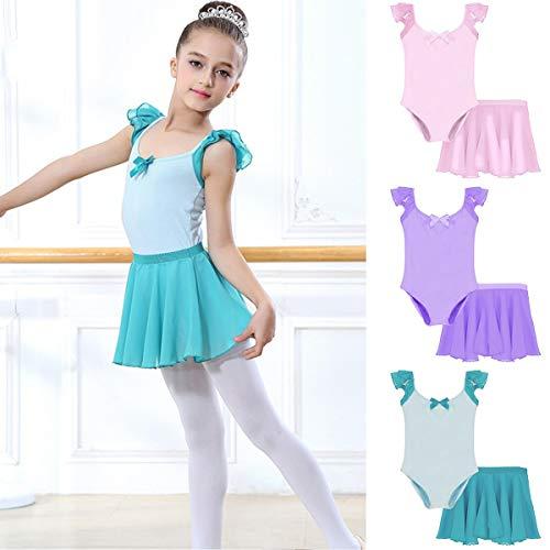 Baby Kind Prinzessin Mädchen Spielanzug + Rock Dancewear Tanzanzug Kostüm Clothess 2 teile/satz (Color : Light Blue, Size : ()