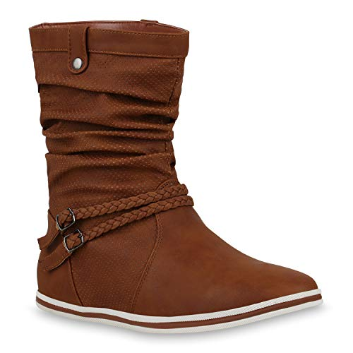 Bequeme Damen Stiefel Schlupfstiefel Lochungen Flache Boots Leder-Optik Metallic Schuhe 104091 Hellbraun 40 Flandell Metallic-leder-boot