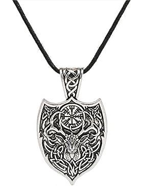 Viking Aegishjalmur Amulett Anhänger Halskette Hirsch sekira Viking Tier Schmuck