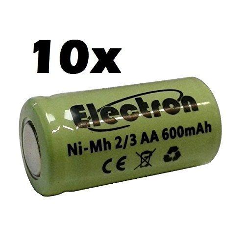 10x Batterie/Akku Ni-MH 2/3AA 2/3AA 1,2V 600mAh 14x 29mm Akkumulator für Lampen Pin Teller