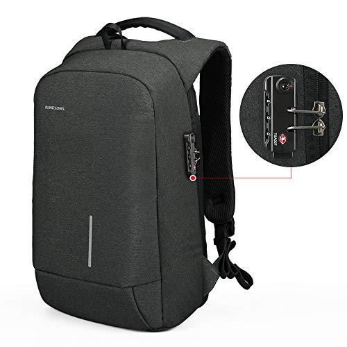 Anti-diebstahl Laptop Rucksack mit USB Ladeanschluss Wasserdicht TSA Business Taschen Rucksäcke für Herren Damen Arbeit Reisen Schule bis zu 15,6 Zoll Notebook/Computer grau