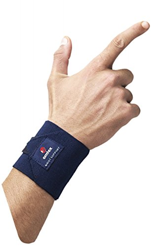 Omtex Adjustable Velcro Elasticized-Fabric Wrist Support, Men's Free Size (Navy Blue)
