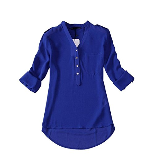 minetom-donna-lunga-camicetta-tunique-v-collo-chiffon-t-shirt-top-ol-shirt-blu-eu-xl-
