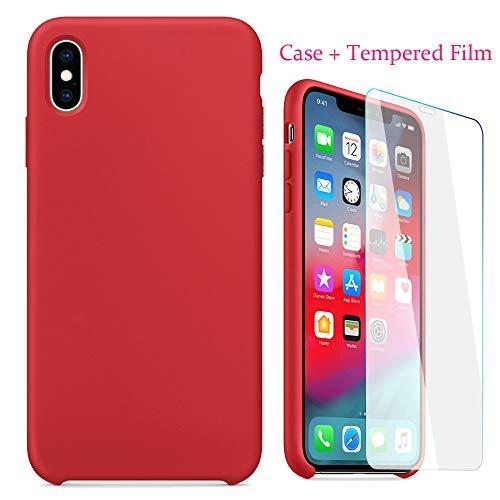QINPIN 2019 Tolle Dünne Silikon-Leder-weiche Hülle + gehärtete Folie für iPhone XS max 6,5inch Rot