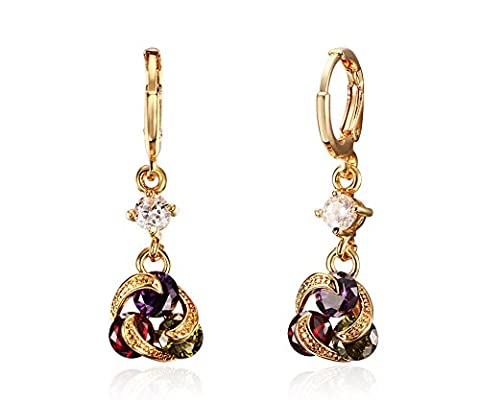 Vnox Womens Girls Multi-Colored CZ Crystal Twist Gold Plated Knot Shape Drop Dangle Chandelier (24 Cerchio)