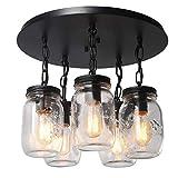 Moderne Led Kronleuchter 5 Kronleuchter 5 Kopf Einmachglas Glas Lampenschirm Deckenleuchte Pendelleuchte Für Esszimmer, Kücheninsel, Schlafzimmer, Wohnzimmer Deckenventilator E27 Durchmesser