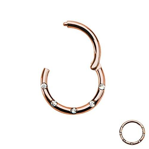Gold Rose Ring Mit Kristallen (Treuheld® SEGMENT CLICKER Piercing - ROSEGOLD mit KRISTALLEN - 1,2 x 8 mm | Ring als NASENPIERCING, SEPTUM, LIPPENBÄNDCHENPIERCING, Helix, Tragus, Lippe ++ Zirkonia / Strass - Steine CHIRURGENSTAHL)