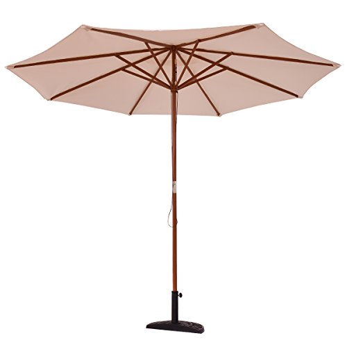 COSTWAY Parasol de Jardin Droit Ø 270 CM en Bois avec Toile Polyester Imperméable Parasol Hexagonal pour Jardin Terrasse Balcon et Piscine (Beige)