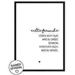 Echte Freunde - Kunstdruck auf wunderbarem Hahnemühle Papier DIN A4 -ohne Rahmen- schwarz-weißes Bild Poster zur Deko im Büro/Wohnung / als Geschenk Mitbringsel zum Geburtstag etc.