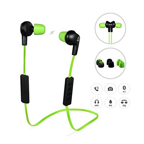 Klim Pulse - Auriculares Bluetooth 4.1 [nuevos 2018], Cascos inalámbricos - Reducción de Ruido - Perfectos para Deporte, Música, Llamadas, Juegos, etc. Magnéticos, con Nueva Espuma de Memoria
