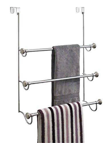 mDesign Elegante toallero sin taladro – Práctico toallero de puerta con tres barras para colgar toallas – Secatoallas de acero inoxidable – Color: plateado