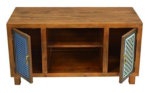 ts-ideen TV-Bank Lowboard HiFi-Schrank Vintage Antik Shabby Design Used Style Massivholz braun zwei Türen mit buntem Muster - 8