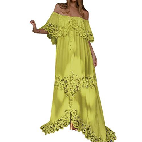 rauen Schulterfrei Spitze Sommerkleid Halbe Hülse Elegante Maxikleider Partykleid Abendkleid Lange Kleider ()