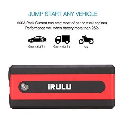 Arrancador de emergencia para automóvil (hasta 6 litros de gasolina, motor diesel de 4,5 litros) iRULU 600A Pico 13600mAh Portátil portátil Batería de batería Batería