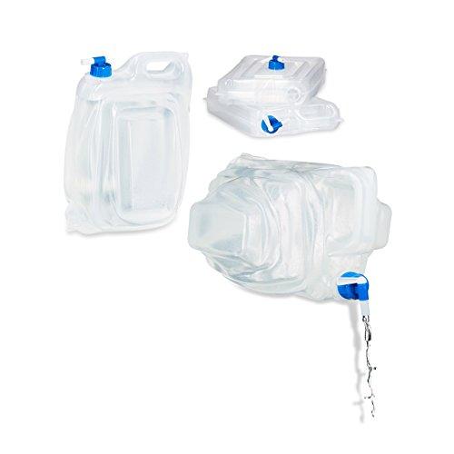 Relaxdays Wasserkanister Camping 4er Set BPA frei, 15 L Trinkwasserkanister eckig mit Hahn, Haltegriff, Lebensmittelecht
