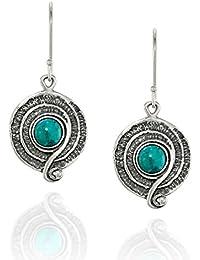 2ba31d2e4508 Pendientes turquesa estilo vintage de plata de ley 925 con diseño de  espiral o remolino