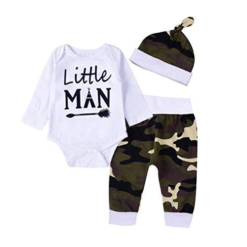 Baby Kleidung Set Neugeborene Jungen Mädchen Kurzarm Drucken Strampler Overall Tops+Beinwärmer+Stirnband Romper Outfits Spielanzug Set Xinantime (3-6Monat, Weiß)