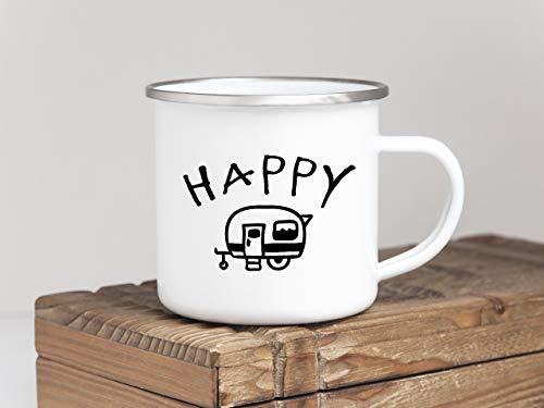 Interluxe EMAILLE Becher Retro Tasse Happy Camper Geschenk Wohnwagen Camping bruchsicher Outdoor Mug - Happy Becher Camper