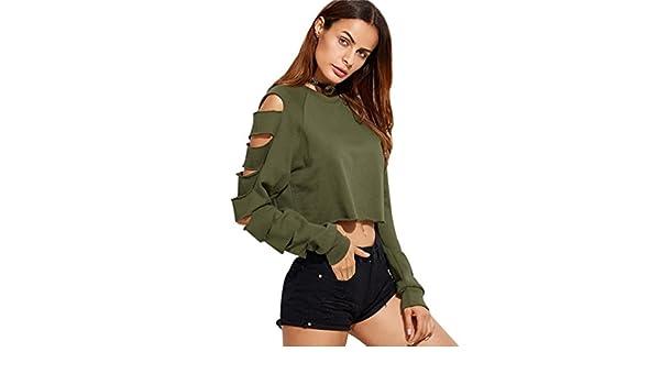 Sweat Court Femme Sweat Shirt Crop Top Pull Over Sweatshirt Sweat-Shirt  Déchiré Creux Trou Manche Longue Sweats Tops Tee Shirt Femme Manches Longues  ... 6f04879060e4
