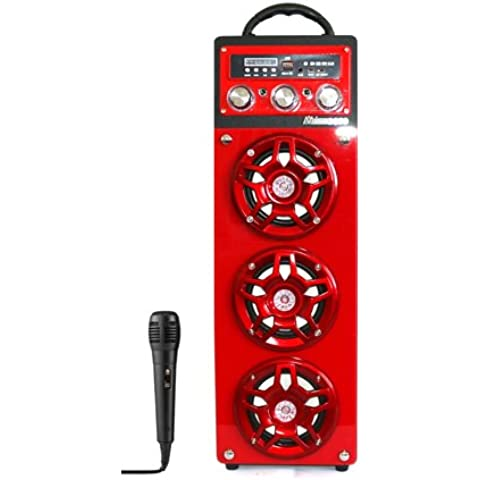 MIMACRO® Altavoz Bluetooth Inalámbrico torre portátil con Microfono para Karaoke, Color Rojo