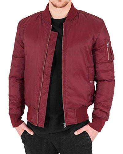 Urban Classics Herren Bomberjacke Basic Bomber Jacket, Rot (Burgundy 606), XXX-Large (Herstellergröße: 3XL)