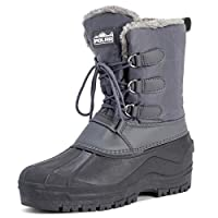 Polar Mens Muck Lace Up Short Nylon Winter Snow Rain Lace Up Waterproof Duck Boots - Grey - UK8/EU42 - YC0338