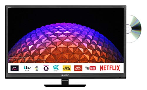 Sharp LC-24DHG6001KF 24 Inch HD Ready LED Smart TV with Freeview Play, Built-In DVD Player - Black