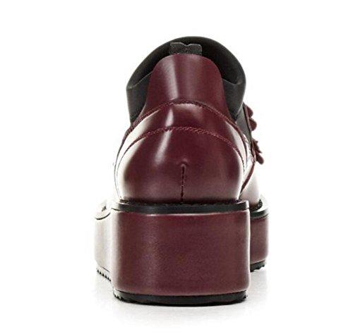 GLTER Donne Media Tacchi Sandali Loafer Appartamenti Casuali Per Il Tempo Libero Scarpe In Pelle Fiori Zeppe Scarpe Bianco Rosso wine red