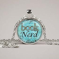 Book Nerd Collar o llavero cristal Art Print joyería encanto regalos para ella o, Arte de fotos colgante de cúpula de cristal colgante hecho a mano collar
