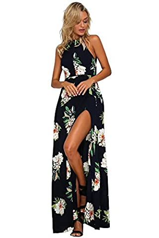 Miss Floral® Womens Backless Floral Print Split Maxi Dress 3 Colour Size 6 - 14
