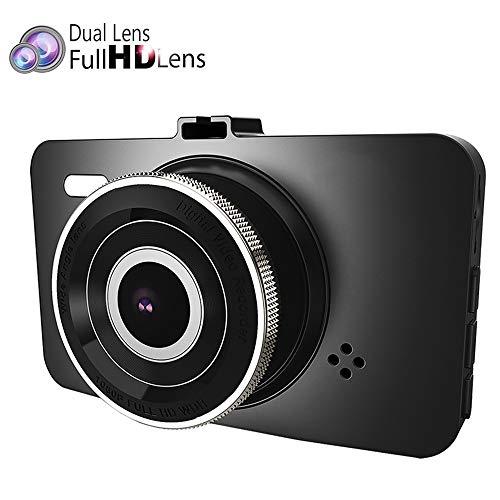 Caméra de tableau de bord pour voiture Ecran LCD de 3 pouces, enregistrement de boucle de lentille grand angle 170 ° 170 °, HDR, surveillance de parking